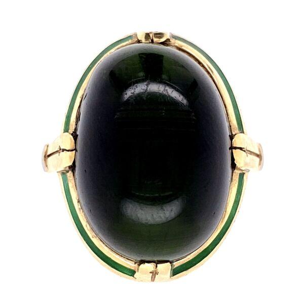 Closeup photo of 14K Yellow Gold Arts & Crafts Cat's Eye Tourmaline Ring with Engraving & Green Enamel