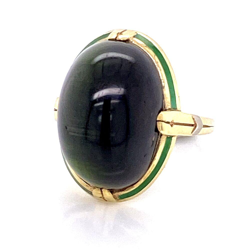 14K Yellow Gold Arts & Crafts Cat's Eye Tourmaline Ring with Engraving & Green Enamel