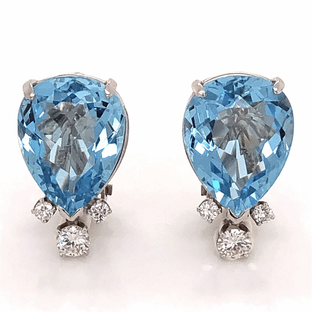 Platinum 14tcw Pear Shape Aquamarine Earrings .75tcw Collection diamonds, 14K WG Clip Backs