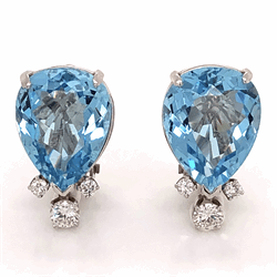 Closeup photo of Platinum 14tcw Pear Shape Aquamarine Earrings .75tcw Collection diamonds, 14K WG Clip Backs