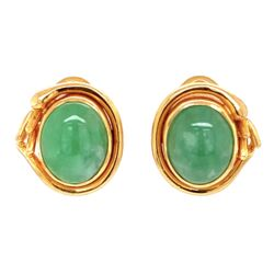 Closeup photo of 18K Yellow Gold Natural Jadeite Jade Earrings with French Clip Backs, c1960's