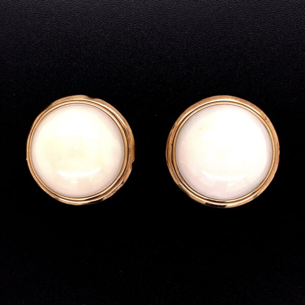 """Closeup photo of 14K Yellow Gold Round Cabochon Angel Skin Coral Button Earrings with French Clips, 9.6g, .80"""" diameter"""