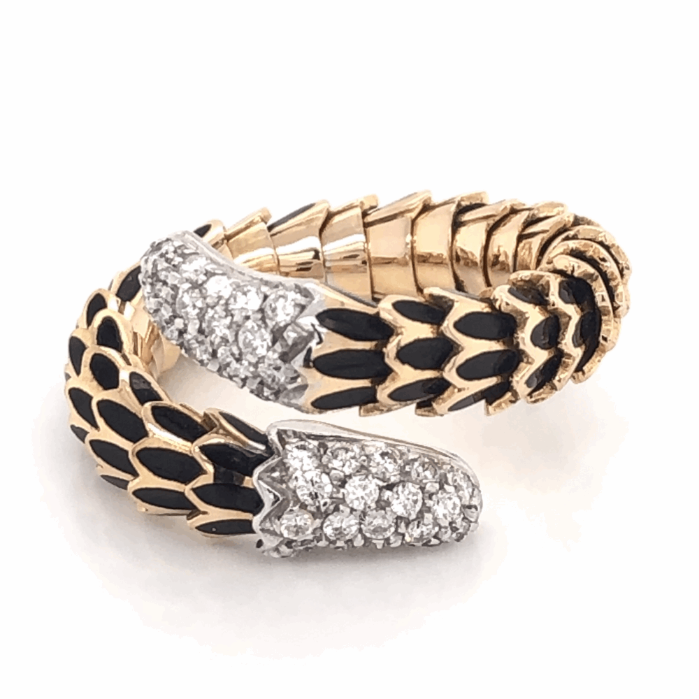 18K Rose Gold Scale Ring .60tcw diamonds Black Enamel & Flexible