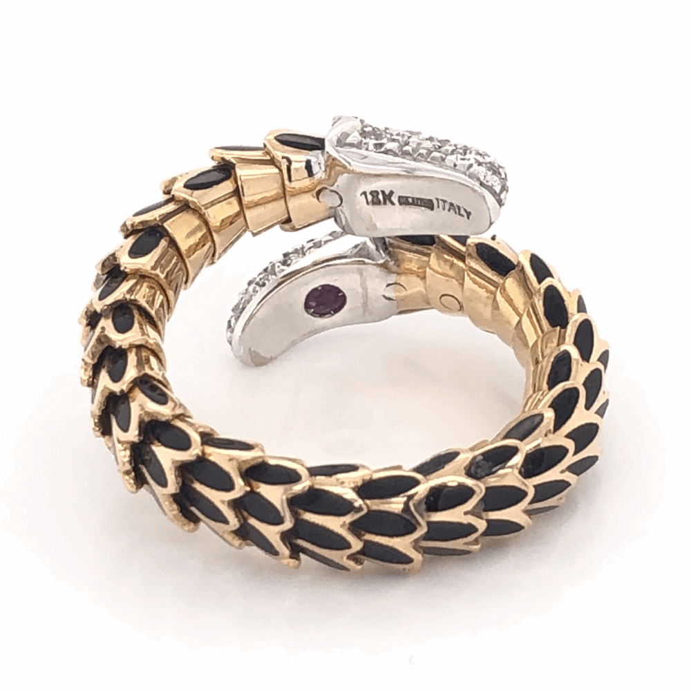 Image 2 for 18K Rose Gold Scale Ring .60tcw diamonds Black Enamel & Flexible