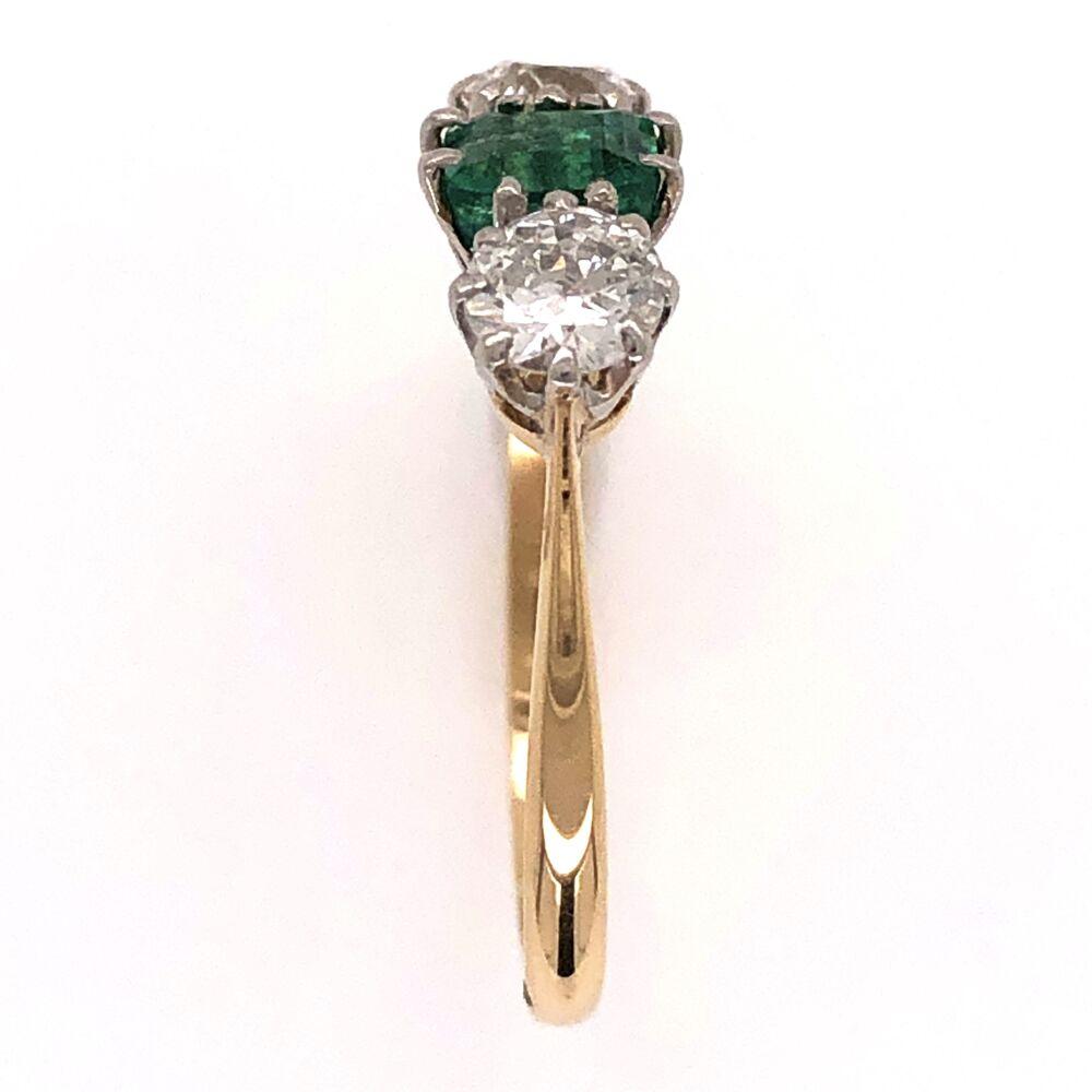 Image 2 for Platinum 18K Yellow Gold Edwardian 3 stone Ring .45ct Emerald & 2 diamonds .40tcw