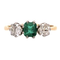 Closeup photo of Platinum 18K Yellow Gold Edwardian 3 stone Ring .45ct Emerald & 2 diamonds .40tcw