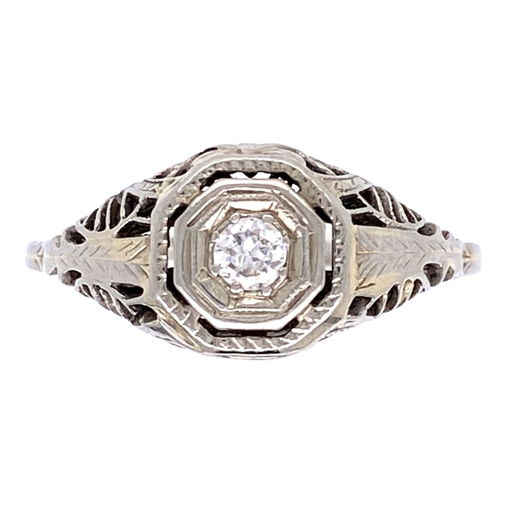 14K WG Art Deco Filigree Ring .10ct Diamond, 2.2g, s7