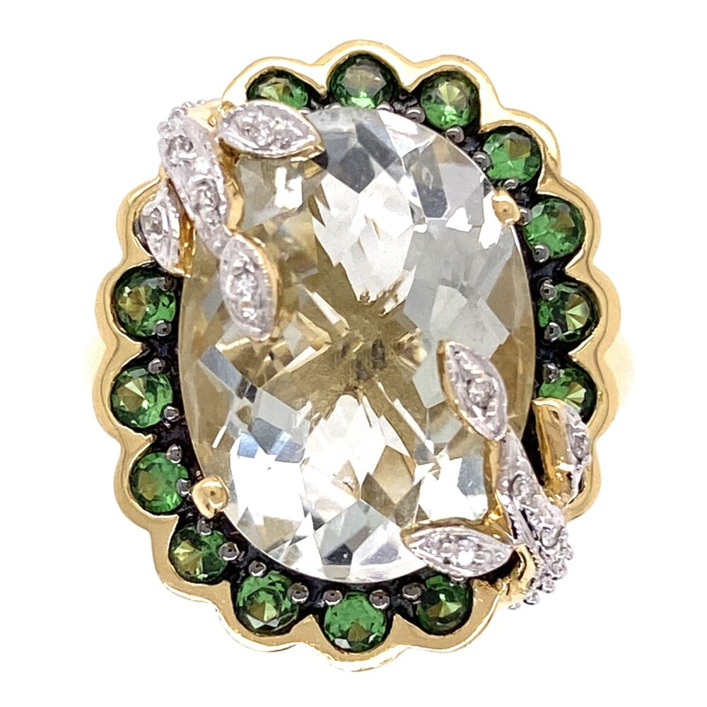 18K Yellow Gold 7ct Checkerboard Prasiolite Ring with Tsavorites and .16tw diamonds 10.4g, size 7.25