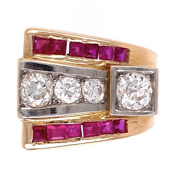 Closeup photo of 14K Rose Gold Retro Ring c1940's 4 diamonds .90tcw, synthetic rubies, 7.6g, s5.5