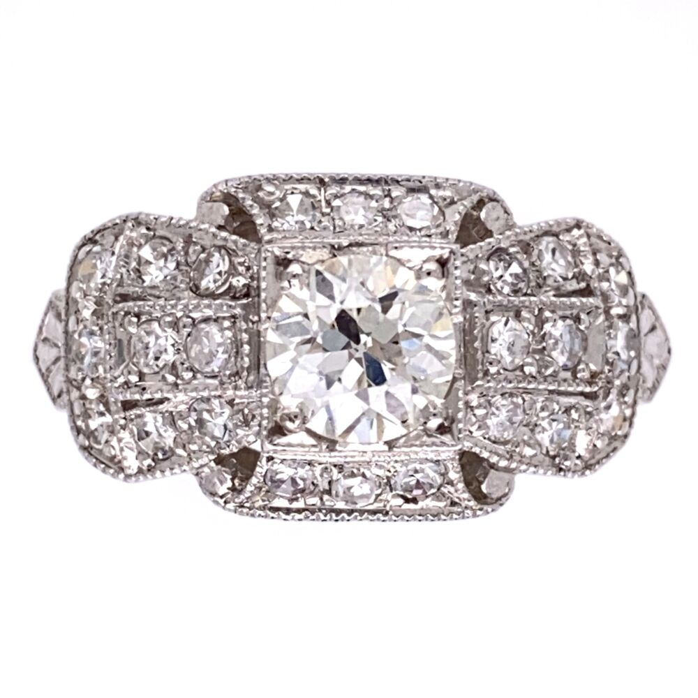 Platinum Art Deco Ring .65ct OEC VS Ring with .44tcw side diamonds s7