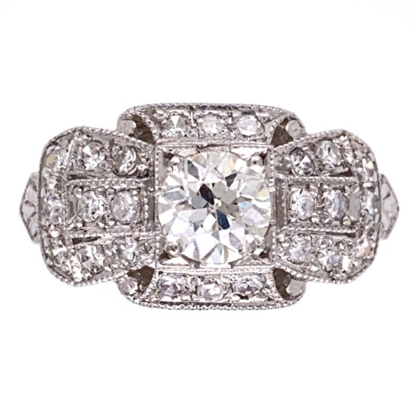 Closeup photo of Platinum Art Deco Ring .65ct OEC VS Ring with .44tcw side diamonds s7