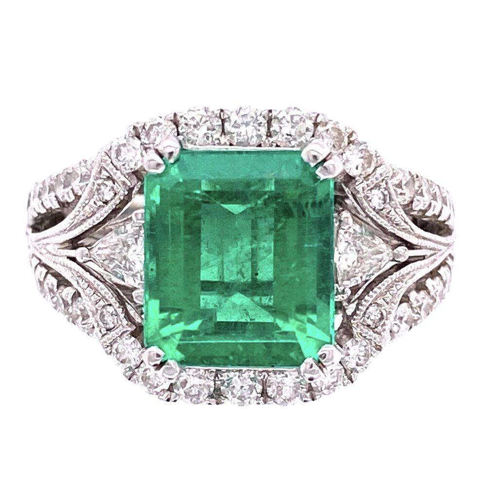18K White Gold 2.75ct Emerald Cut Emerald, 1.20tw Diamonds, signed J.D c1980's, s5.5