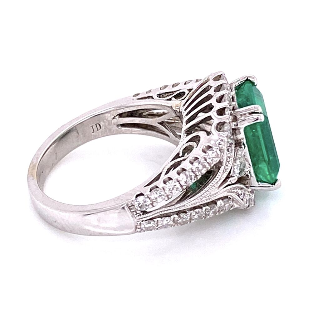 Image 2 for 18K White Gold 2.75ct Emerald Cut Emerald, 1.20tw Diamonds, signed J.D c1980's, s5.5