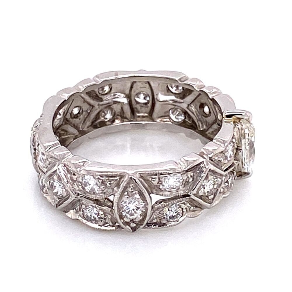 Platinum Diamond Art Deco Band Ring .40ct and .90tcw diamonds, s5.5