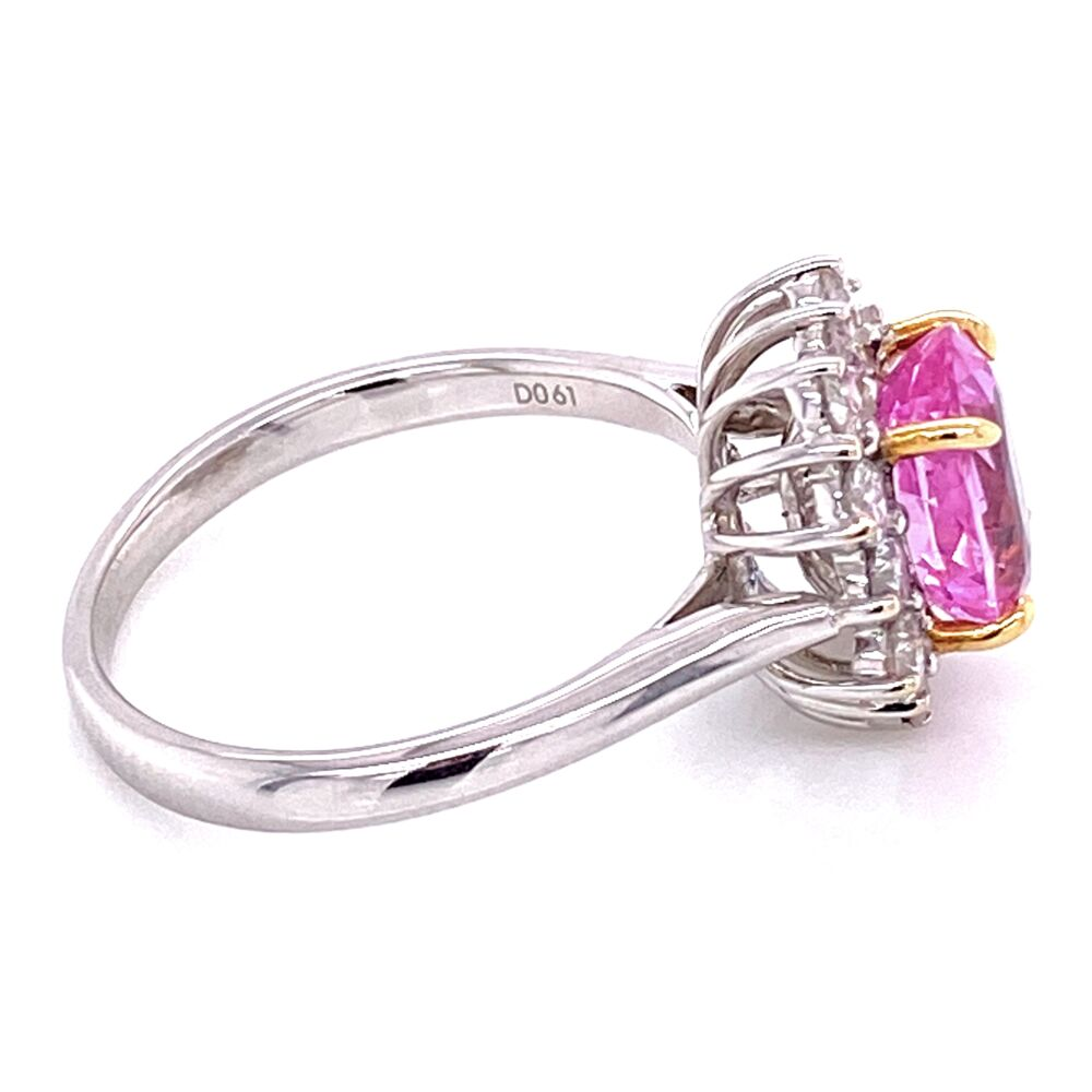 Image 2 for 18K 2tone 2.32ct Oval Pink Sapphire & .61tcw Ring c1960's, s6.75