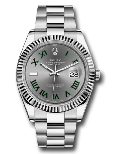 Closeup photo of Rolex Oyster Perpetual Datejust 41mm Watch on Stainless Steel Oyster Bracelet Brand New