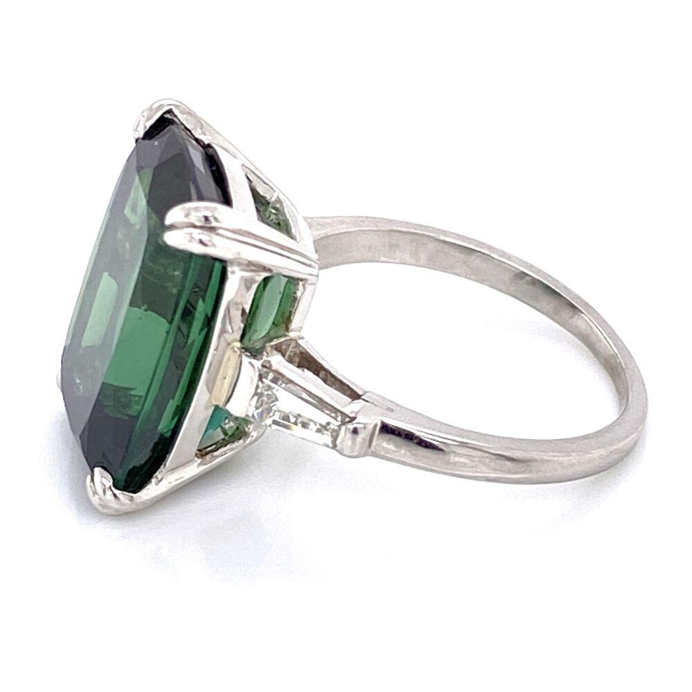 Image 2 for Platinum 12.26 Rectangular Cut Green Tourmaline Ring 2 baguette Diamonds .30tcw, 7.9g