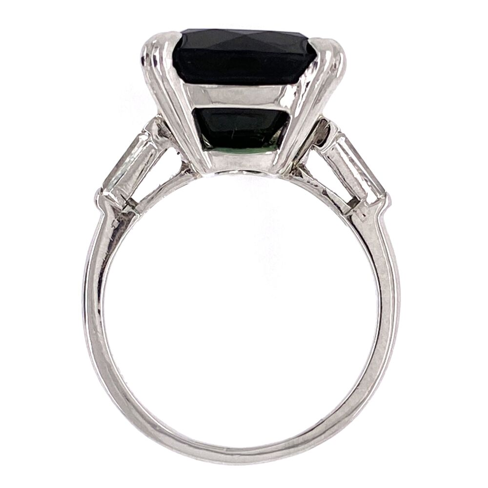 Image 5 for Platinum 12.26 Rectangular Cut Green Tourmaline Ring 2 baguette Diamonds .30tcw, 7.9g