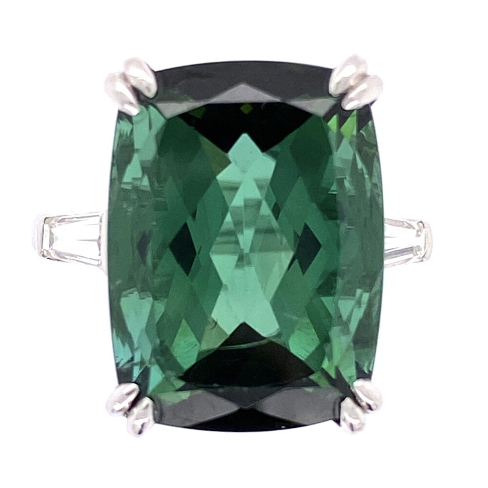 Platinum 12.26 Rectangular Cut Green Tourmaline Ring 2 baguette Diamonds .30tcw, 7.9g