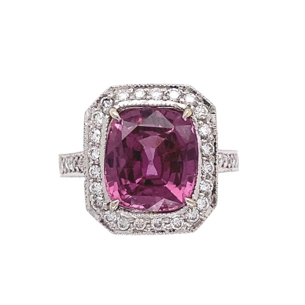 18K White Gold 3.75ct Cushion Pink Sapphire Ring. .55tcw pave diamonds, engraving, s6.25