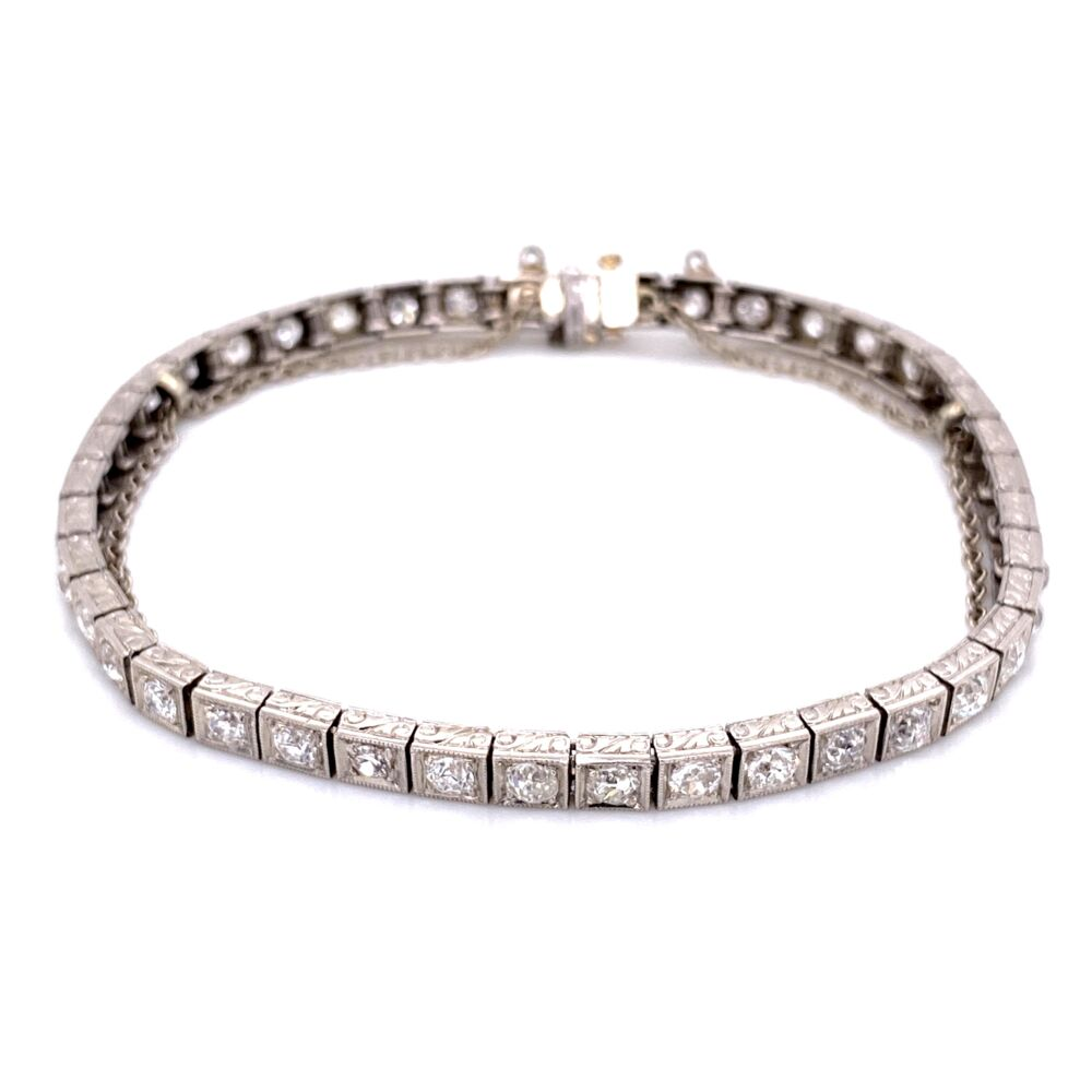 Platinum Art Deco Engraved Line Bracelet 4.25tcw OEC diamonds, 7""