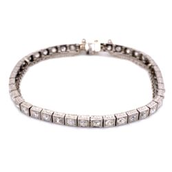 Closeup photo of Platinum Art Deco Engraved Line Bracelet 4.25tcw OEC diamonds, 7""