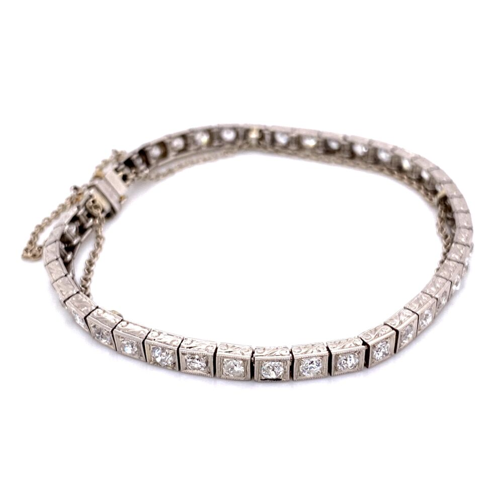 Image 2 for Platinum Art Deco Engraved Line Bracelet 4.25tcw OEC diamonds, 7""