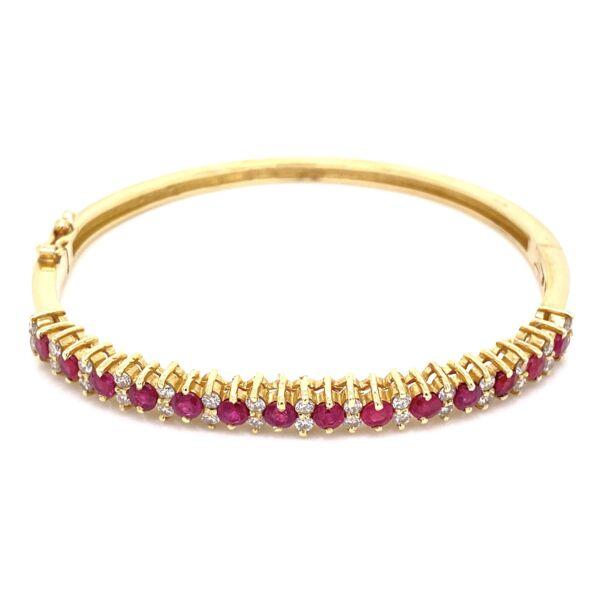 Closeup photo of 14K Yellow Gold Bangle Bracelet 14 Ruby 1.42tcw & .90tcw diamonds, 16.5g