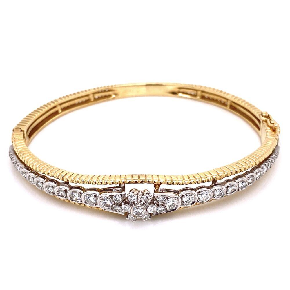 14K Yellow Gold Marriage Diamond Bangle Bracelet 1.50tcw, 18.4g