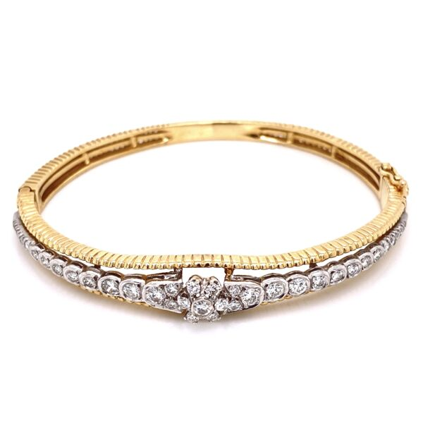 Closeup photo of 14K Yellow Gold Marriage Diamond Bangle Bracelet 1.50tcw, 18.4g