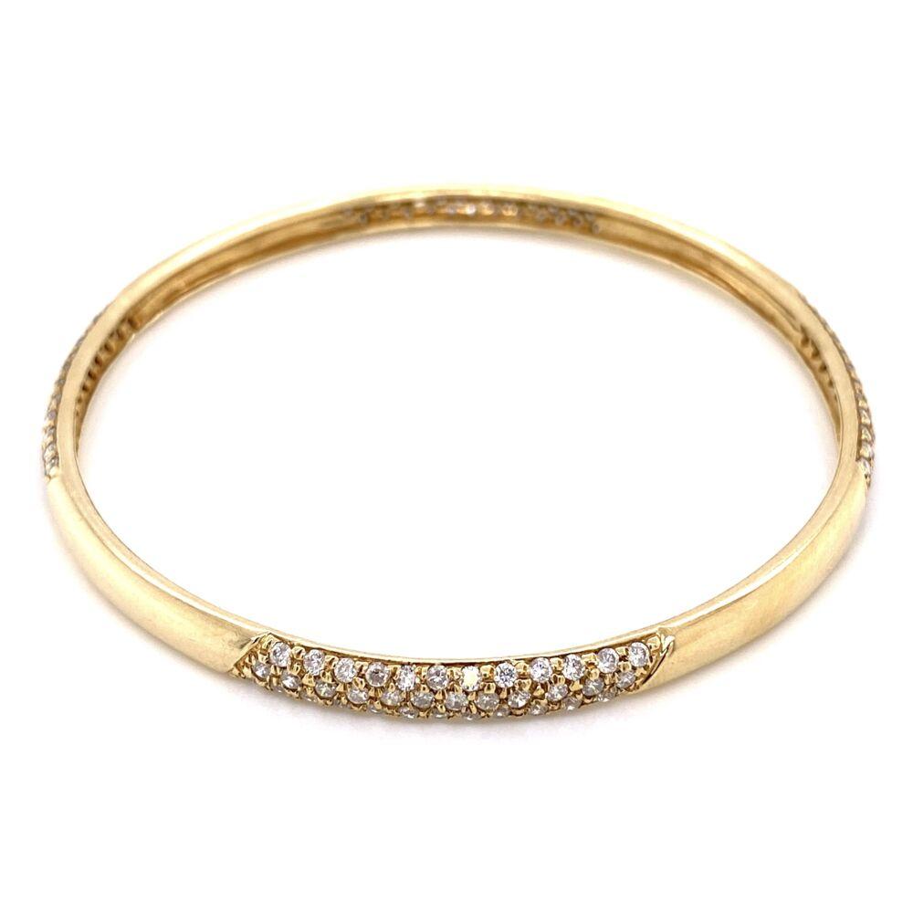 "14K Yellow Gold Bangle Bracelet 3.00tcw diamonds 7.5"", 15.8g"
