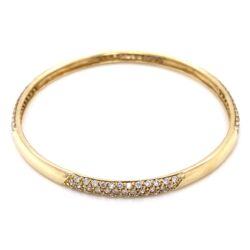 "Closeup photo of 14K Yellow Gold Bangle Bracelet 3.00tcw diamonds 7.5"", 15.8g"
