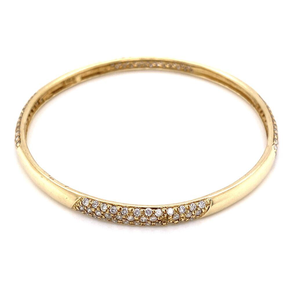 "Image 2 for 14K Yellow Gold Bangle Bracelet 3.00tcw diamonds 7.5"", 15.8g"