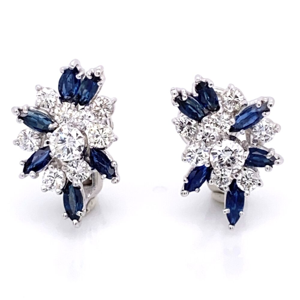 14K White Gold Cluster Earrings 2.16tcw diamonds & 1.80tcw sapphires Omega backs, c1950's