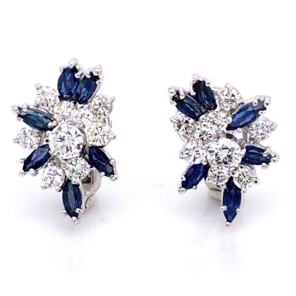 Closeup photo of 14K White Gold Cluster Earrings 2.16tcw diamonds & 1.80tcw sapphires Omega backs, c1950's