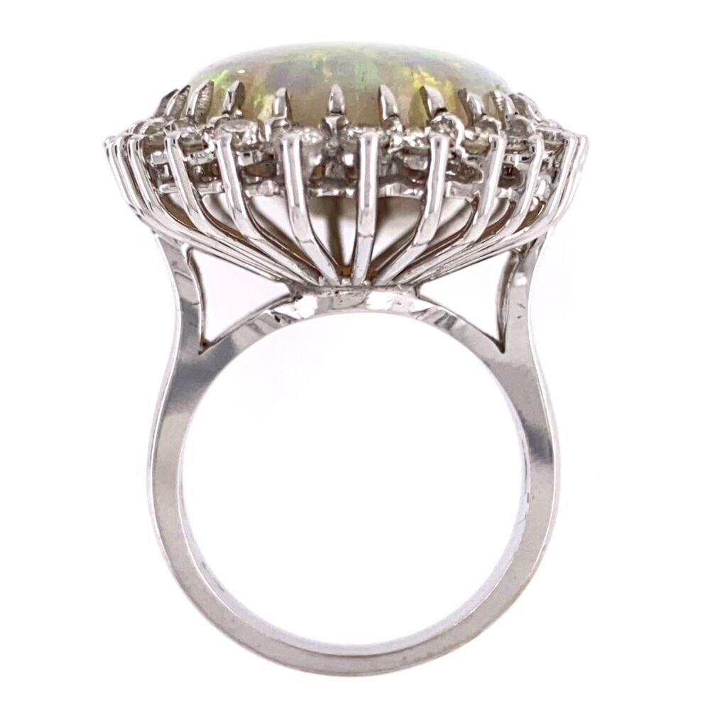 Image 2 for 18K White Gold 18ct White Opal Ring 1.50tcw diamonds, c1970's, s7