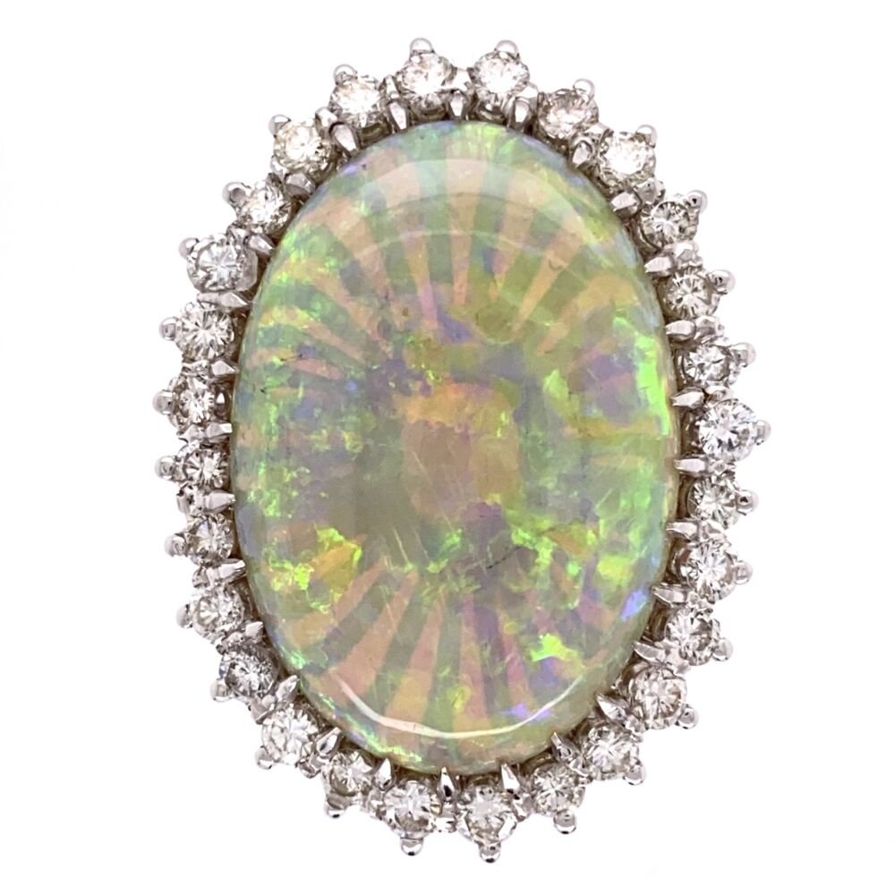 18K White Gold 18ct White Opal Ring 1.50tcw diamonds, c1970's, s7