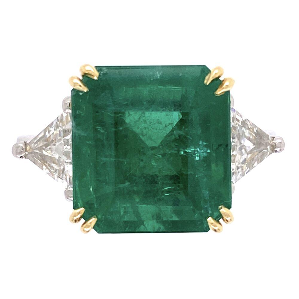 Platinum/18K 6.69ct Emerald Cut Emerald Ring, GIA #21852004555, 2tril= .94tcw