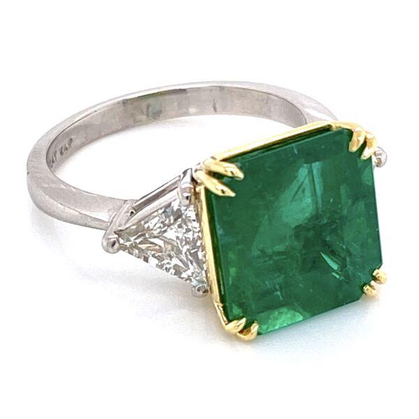 Closeup photo of Platinum/18K 6.69ct Emerald Cut Emerald Ring, GIA #21852004555, 2tril= .94tcw