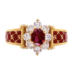 Closeup photo of 18K Yellow Gold French Red Enamel Ring, .45ct Ruby & .66tcw diamonds