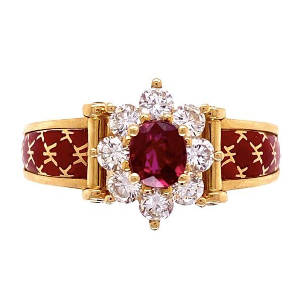 Closeup photo of 18K Yellow Gold French Red Enamel Ring, .45ct Ruby & .66tcw diamonds