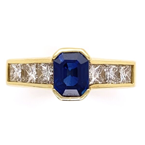 Closeup photo of 18K Yellow Gold 1.10ct Sapphire & 6 Princess Cut .72tcw Diamond Ring, s6.5, 6.5g