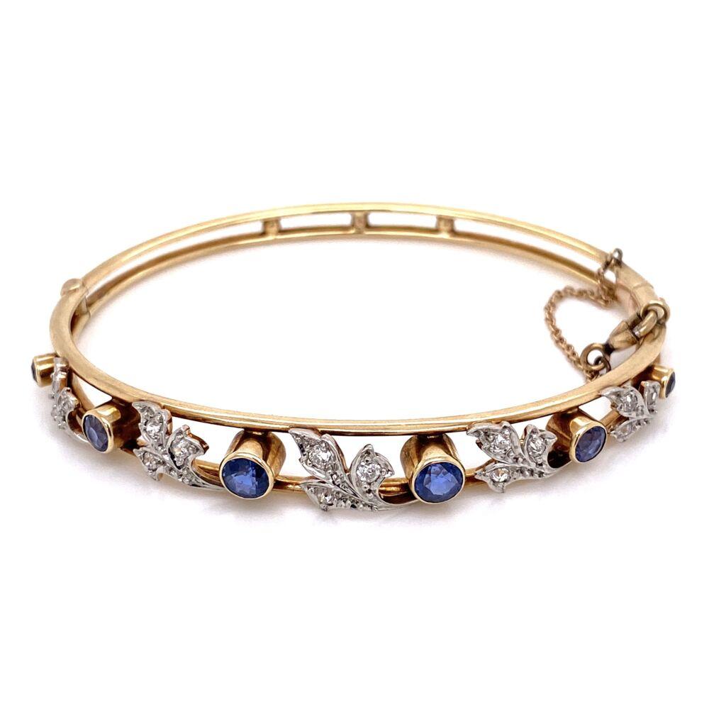 14K Rose Gold Victorian Bangle 1.20tcw Sapphire & .25tcw diamonds, 14.1g