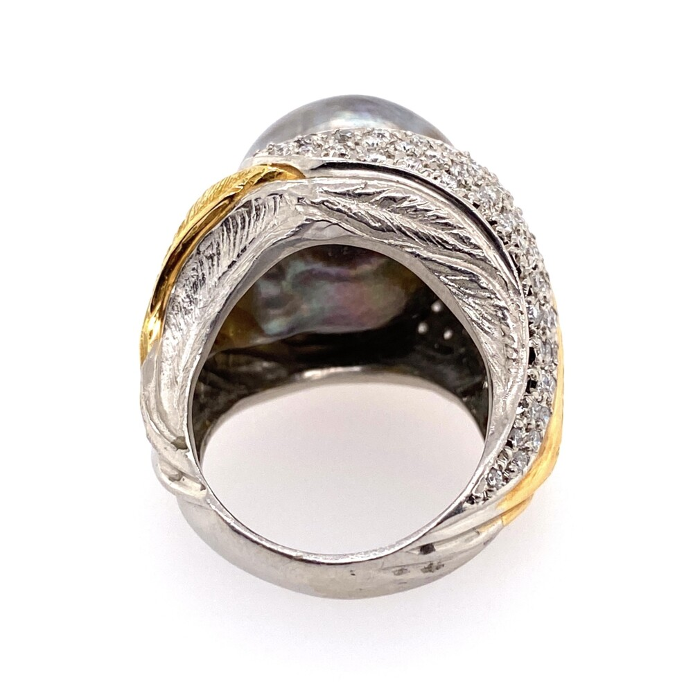 Platinum & 18K Yellow Gold 15.90mm Tahitian Pearl Ring, .51tcw diamonds, s6