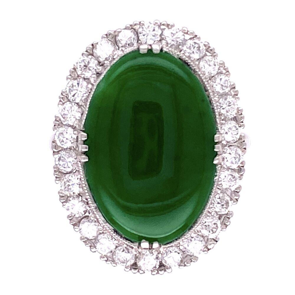Platinum Art Deco 9ct Oval Jade Ring, .80tcw diamonds, c1930's, s6