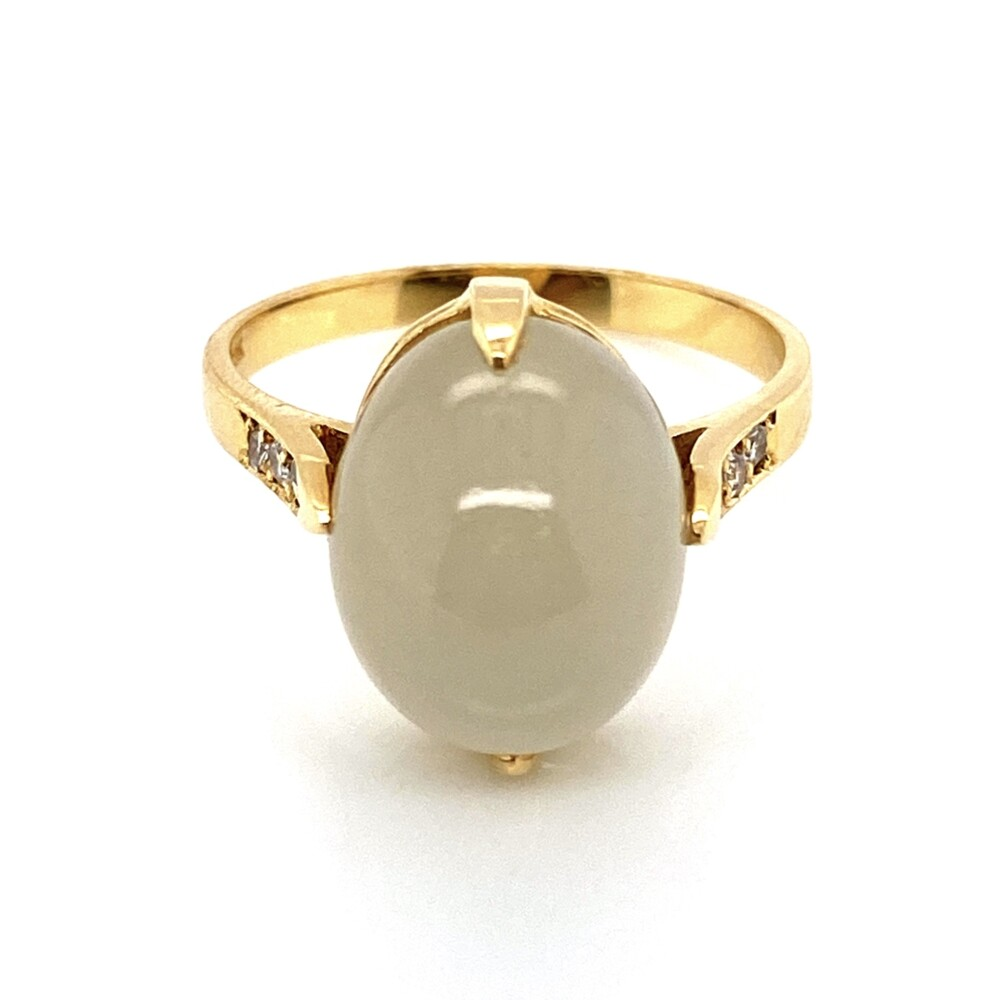 Image 2 for 18K Yellow Gold 7.17ct Cabochon Moonstone & .07tcw Diamond Ring