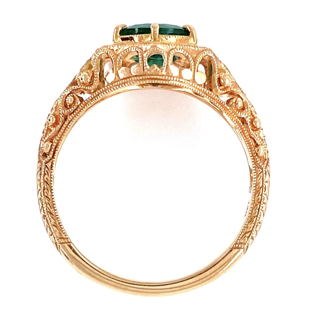 Image 2 for 14K Yellow Gold Filigree Antique Ring 1.05ct Round Emerald & .06tcw diamonds, s6.5