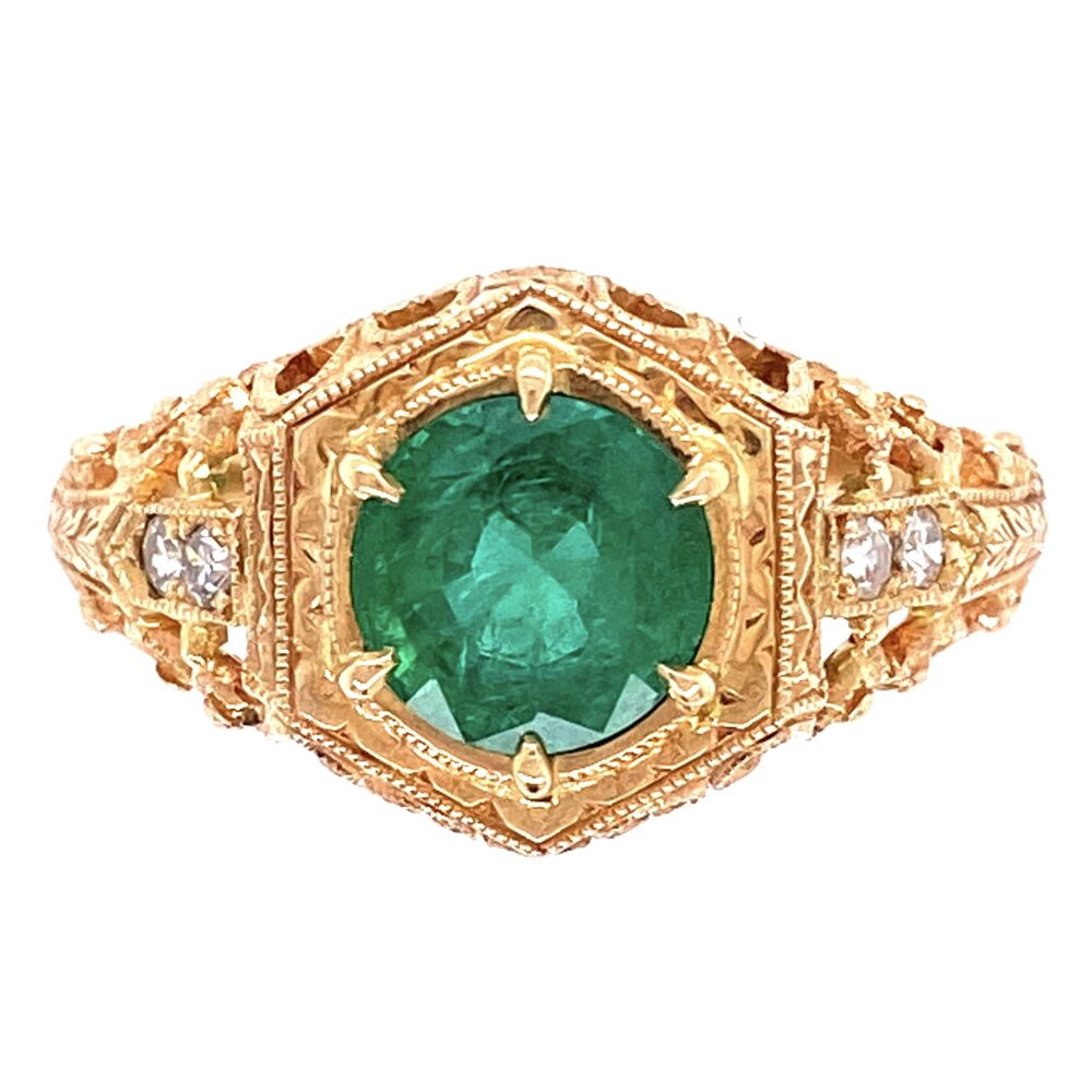 14K Yellow Gold Filigree Antique Ring 1.05ct Round Emerald & .06tcw diamonds, s6.5