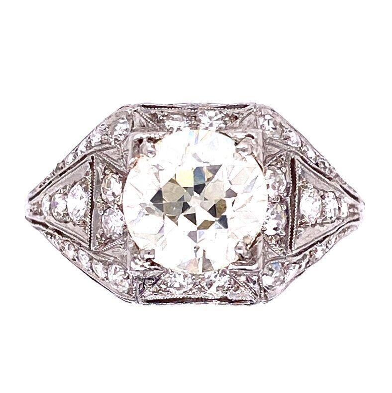 Platinum Art Deco 1.91 OEC Diamond Ring with .65tcw diamonds, milgrain, filigree & engraving