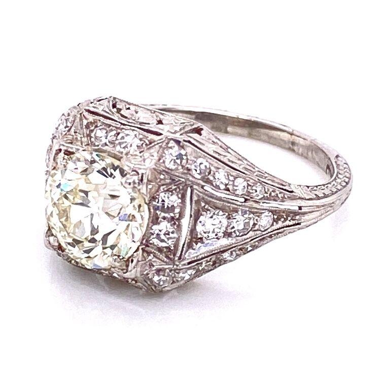 Image 2 for Platinum Art Deco 1.91 OEC Diamond Ring with .65tcw diamonds, milgrain, filigree & engraving